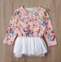 6pc/lot For 1-3years, Autumn Long sleeve Floral Little Girl Black Dress Baby Tops Kids Wear Children's Dress, A-bcm497
