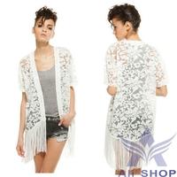 2014 Summer Casual Plus Size Women Blouses Hollow Tassel Lace Blouse Loose Floral Crochet Kimono Cardigan Blusa De Renda 06689
