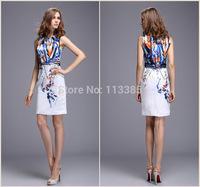 Free Shipping New arrival 2014 women's vintage print slim hip slim tank dress Europe&America Style elegant high quality dress