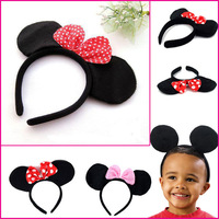 Baby hair accessories Mickey minnie mouse ear headbands girls boys headband for Mickey party minnie birthday party  headwear