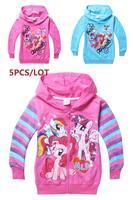 2014 autumn / winter free shipping 5pcs / LOT Frozen cotton my little pony Girls cotton hoodie sweater jacket children 9079