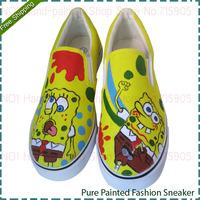 Kids SpongeBob SquarePants Style Footwear Hand Painted Child Unisex Canvas Shoes Four Seasons Boy Casual Sneakers Girl Sneaker