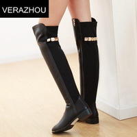 2015 Winter New Martin boots Knee Stretch Metal sequins Fall platform Fashion Winter warm Black High boots for women Leather
