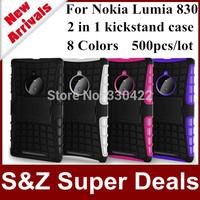 500pcs Big discount Hybrid armor stand holder Cover Design Shockproof Kickstand Case For Nokia Lumia 830
