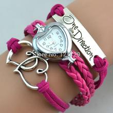 Free shipping 2014 charm love vintage watch bracelet,one direction watch bracelet, valentine's day gift pu leather watch W14(China (Mainland))