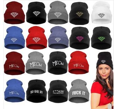 hot! 1 pcs free shipping men women beanie Roll-up Caps skullies Wool Knitted hat Winter hat Men Women diamond beanie wholesale(China (Mainland))