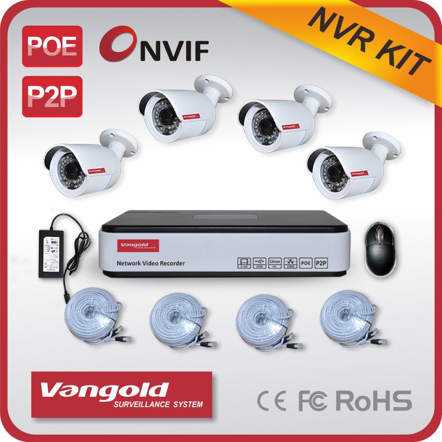 4 Channels NVR KIT 960P FULL HD 1.3mp IP Camera P2P Home Video HDMI VGA CCTV Security Surveillance System(Chin