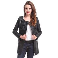 2014 Autumn Winter Pu Plus Size Spliced jaquetas Striped Ladies' Motorcycle Bomber Jackets Long Women' Faux Leather Coats 1357