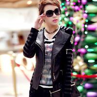 2014 Autumn Winter Pu Plus Size Spliced jaquetas Sequines Ladies' Motorcycle Bomber Jackets Punk Women' Faux Leather Coats 1101