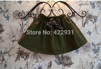 Retail Brand Girls Kids Cotton little skirt girls pure color skirts with floral bow children fashion skirts children autumn wear
