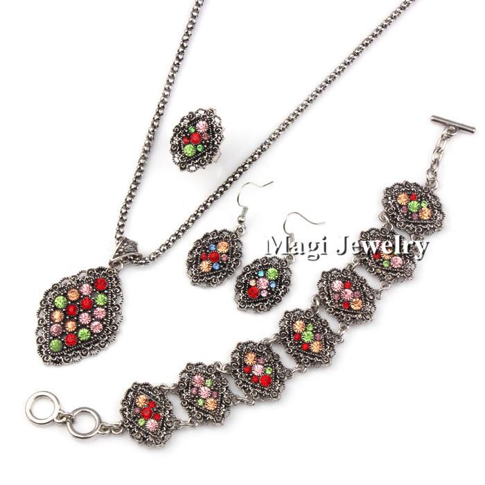 4pcs/set Fashion Jewelry Sets Bridal Women Rose Flower Necklace+Earrings+Ring+Bracelet Rhinestone Vintage Silver Party 2014 BFWS(China (Mainland))