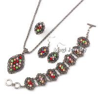 4pcs/set Fashion Jewelry Sets Bridal Women Rose Flower Necklace+Earrings+Ring+Bracelet Rhinestone Vintage Silver Party 2014 BFWS