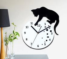 Free Shipping 30*28cm(11.81*11.02in) Fashion Creative Clock Cat Catch Fish in the Aquarium Wall Clock for Kids