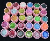2014 new Arrive 30 Color Glitter UV Gel Builder False Tips Acrylic Nail Art Polish Kit Set pink pot