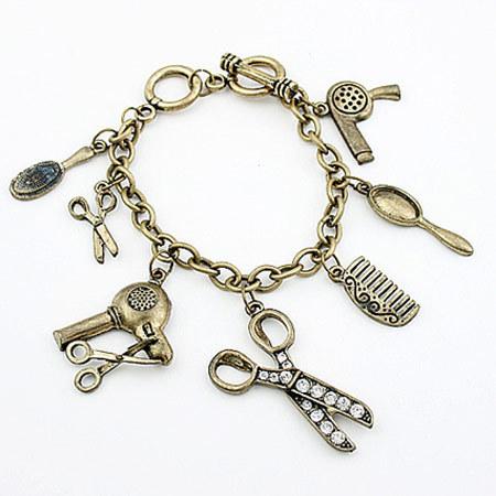 New Fashion Bohemian Boho Bracelets Bangles With Bronze Scissors Comb Blower Pendant Charm Bracelet Women Men Accessory Pulseras(China (Mainland))