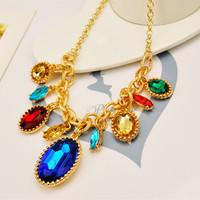Temperament Drill Flash Oval Drill Drop gems Short necklace Sweater chain Strap Accessories Women