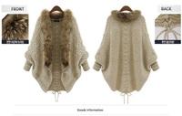 Womens Knitted Cardigans Fashion New 2014 Autumn Winter Women Long Warm Sweaters With Faux Fur Collar Woollen Outwear Tricotado