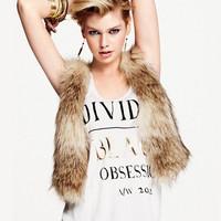 Winter Sleeveless Vest Faux Fur 2014 New Fashion Short Wear Plus Size Colete Pele 2 Colors Free Shipping