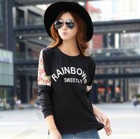 2014 New Women's Casual Long Sleeve Lace T-shirt Ladies Hoddies Pullover Batwing Sweatshirts Cute T-shirt 5 Colors XXXL