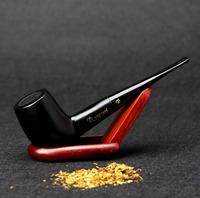 10 Tools Set Ebony Wood Smoking Pipe 9mm Filter 14.5cm Smoking Pipe 100% Black Straight Smoking Pipe Set