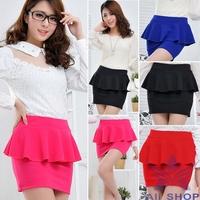 2014 Womens High Waist Pencil Skirt For Women Work Wear Peplum Mini Skirt Business Bag Office Ladies Skirt Saias Femininas 08078