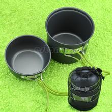 B76   Outdoor Portable Camping Hiking Cooking Nonstick Bowl Pots Pans Cookware Set(China (Mainland))