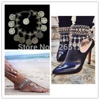 2pcs/lot Women men new vintage Wholesale Coin Dangle Wave Metal Anklet Bracelet, Bohemian Adjustable Ankle Bracelet Foot Chain