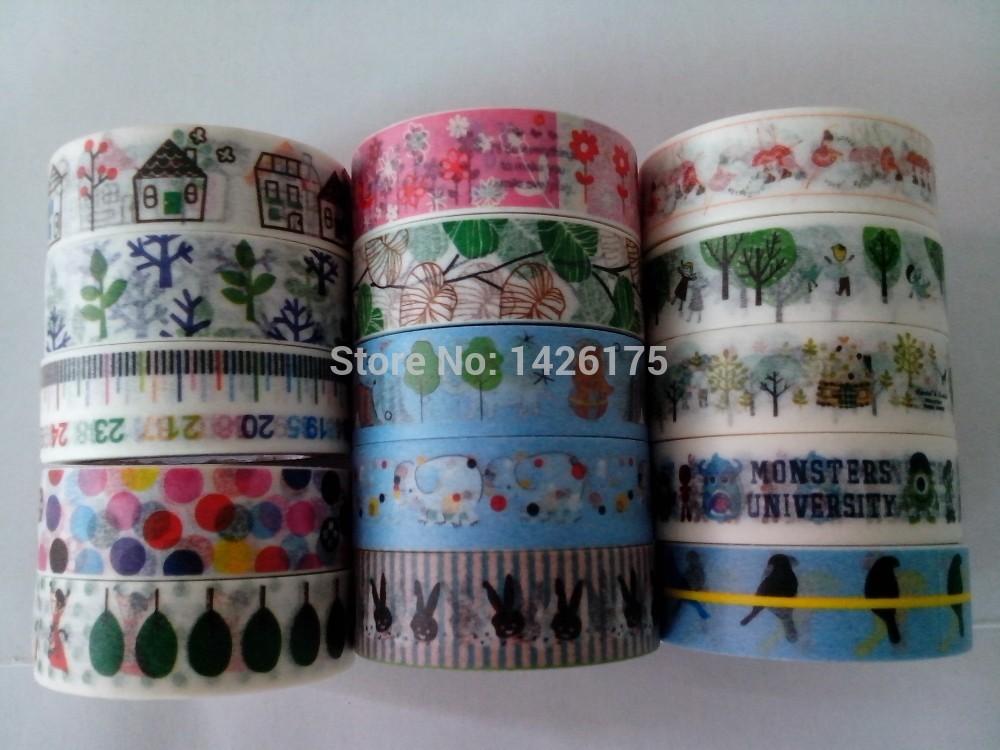 Washi Tape Single roll, 100 patterns wholesale (20Pcs/Lot) Cute size 15mm x 10m Japanese Washi Tape(China (Mainland))