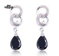 Black Crystal  CZ Drop Earring 100% pure Silver Earings Fine Jewelry ZC145ER