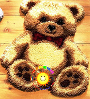 DIY Mat Needlework Kit Latch Hook Rug Kit  Unfinished Crocheting Rug Yarn Cushion Embroidery Carpet Cartoon  Bear Picture