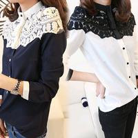 Chic Navy White Women Long Sleeve Chiffon Blouse Splicing Lace Tops Shirt