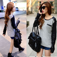 2014 New Lady Girls Trendy Casual Faux Leather Long Sleeve Splicing T-shirt Tops Blouse