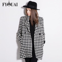 FYOUAI Long Style Women Woollen Coat New Fashion 2014 Double-breasted Slim Thicken Classical Wool Peacoat