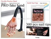 Nail Art PRO Styling Tools Rotate Human Like Finger Personal & Salon Fake Hand Training Practise+ 300 Pcs False Nail Tips XF0211