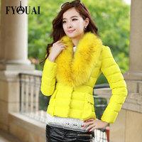 FYOUAI New 2014 Fashion Winter Jacket Women Big Fur Collar Warmth Casual Outdoor Down Coat Zippers Slim Parkas outwear