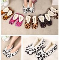 Home Soft Plush Leopard Slippers Coral Fleece Indoor Home Shoes,Floor Socks , Indoor Slippers Winter Foot Warmer 6 Color