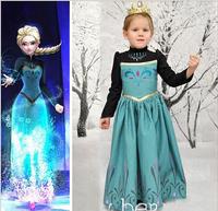 New Girl Frozen Dress Halloween Costume for kids Fantasias Queen Princess Elsa Anna Cosplay Costume Party Fancy Dress