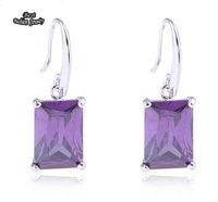 Purple Square Stereo Earrings Amethyst Crystal Zircon Hook Earring ZC181ER