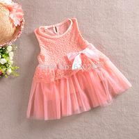5pcs/lot New 2014 Children Clothing Girls Yarn Dress Flower Baby Girls Lace Formal Party Wedding Dress Baby Girls Summer Dresses