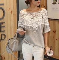 2014 new Korean sweet handmade lace openwork crochet sexy bat sleeve long T-shirt women