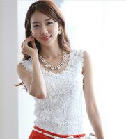 2014 summer new Korean style plus size sleeveless shirt Slim Modal Lace camisole women t-shirts S M L XL XXL white black
