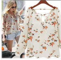 New Lapel Collar Leiothrix Chiffon Long Sleeve Women Shirt Tops Blouses T-Shirts