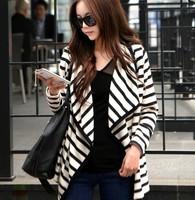 Fashion Women Long Sleeve Striped Peplum Casual Tops Cardigan Blouse Jacket Coat