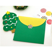 10pcs Cute Merry Chrismas Trees Holiday Invitation Greeting Card Envelope Snowman Gift Cards/Christmas Card/Gift EJ673101