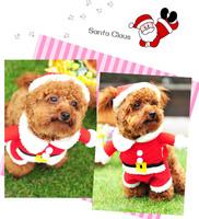 New design 1Set Fashion Christmas Dog Puppy Clothes Cute Santa Pet Apparel Clothing Warm Winter Cloth Coat Hat Set EJ673102