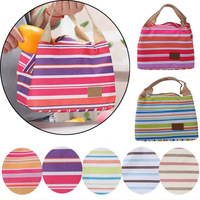 Practical Thermal Canvas Stripe Lunch Bags Thermal Portable Canvas Stripe Lunch Bag For Kids Children Picnic Carry Case