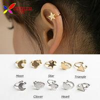 2014 fashion gold silver copper metal moon clover star heart triangle no pierced clip earrings ear cuffs for women boucle bijoux