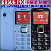 Free Shipping Gusun F10 GusunF10 Dual SIM Ultra-thin Old Man Big Speaker 2.0 inch black white (Can add Russian Keyboard)