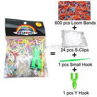 100 Packs/lot (600 Bands + 24 S-Clips + 1 Small Hook + 1 Y Hook) Loom Bands Set Bag Rubber Loom Bands DIY Bracelet (LB-05)