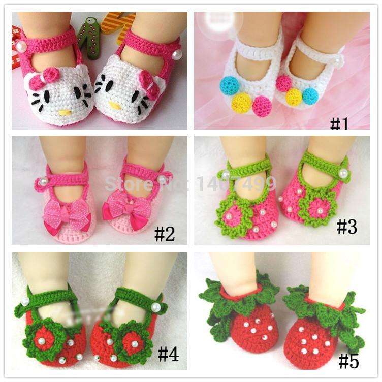 Handmade Baby Shoes Newborn Infant Girls Crochet Knit Socks Casual Crib Shoes Prewalkers Accessories 0-12M(China (Mainland))